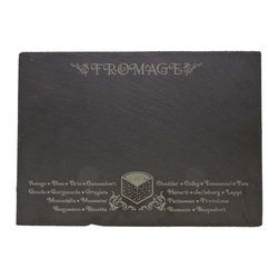 None - Etched Fromage Slate Menu with Chalk - Thirstystone Slate Entertaining Collection is the way to set the tone for your next gathering or get-together. With a wide variety of products available, they will provide a great way to display and serve your entire guest list.