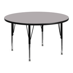 Flash Furniture - Flash Furniture 48 Inch Round Activity Table with Grey Laminate Top - Flash furniture's pre-school XU-A48-RND-GY-T-P-GG warp resistant thermal fused laminate round activity table features a 1.125'' top and a thermal fused laminate work surface. This round laminate activity table provides a durable work surface that is versatile enough for everything from computers to projects or group lessons. Sturdy steel legs adjust from 16.125'' - 25.125'' high and have a brilliant chrome finish. The 1.125'' thick particle board top also incorporates a protective underside backing sheet to prevent moisture absorption and warping. T-mold edge banding provides a durable and attractive edging enhancement that is certain to withstand the rigors of any classroom environment. Glides prevent wobbling and will keep your work surface level. This model is featured in a beautiful grey finish that will enhance the beauty of any school setting. [XU-A48-RND-GY-T-P-GG]