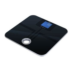 "American Weigh Scales - Body Fat Scale Black - Body fat scale with carry handle monitors body weight fat water muscle and bone 8 user memory auto-on 396lb capacity 0.2lb graduation reverse back-lit LCD display (2.3""x2.4"") platform size 12.6""x12.6"" 4-AAA batteries included black glass color"