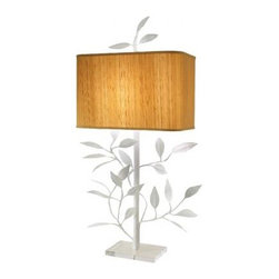 Ed and Annie Lamp - I love the way this lamp combines the whimsy of its botanical shape with the crisp contemporary combination of white paint and rectangular silk shade.