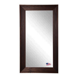 Rayne Mirrors - American Made Barnwood Brown Full Length  Mirror - This tall mirror is naturally distressed and beautiful with a carved wood texture.  Its subtle brown and cinnamon color scheme will add a warm country charm to any space.  Rayne's American Made standard of quality includes; metal reinforced frame corner  support, both vertical and horizontal hanging hardware installed and a manufacturers warranty.