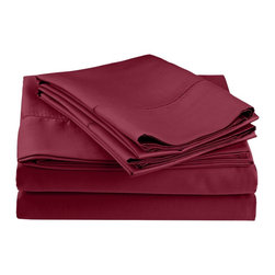 600 Thread Count Twin XL Sheet Set (Fagotting) Cotton Rich - Wine - Surround yourself in the classic elegance of Impressions Hem Stitch sheet set. This design features hem stitching which is a classic method used to put two pieces of fabric together using a an insertion stitch to give off the appearance of lace.