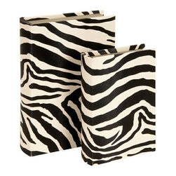 BZBZ72039 - 2 Leather Faux Book Boxes in Zebra Print - 2 leather faux book boxes in zebra print. Box sets are made from faux leather and wood. Dimension: big box 13 L x 3 H x 9 W inches and small box 10 L x 2 H x 6.5 W inches.