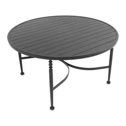 """Meadowcraft - Meadowcraft Athens Wrought Iron 45 Round Slat Top Chat Table - Inspired by Southern hospitality Meadowcraft's Athens seating patio furniture collection eloquently speaks to the luxury of comfortable living. Graceful swirls and elegant detailing welcome you with the quiet elegance of a gardenia-scented evening spent with your very best friends. Athens features luxuriously thick cushions give way to a truly indulgent design and a space you may never wish to leave.Meadowcraft is a leading domestic manufacturer of quality wrought iron furniture and cushions located in Wadley Alabama.  With traditional and post war modern styles utilizing subtle understated designs Meadowcraft furniture is an excellent addition to any home. Whether choosing the deep seating comfort of a cushioned loveseat or the comfortable durability of a commercial grade mesh bistro chair you are invited to relax in all of Meadowcrafts products.  Meadowcraft takes the """"made in the U.S.A."""" label seriously and strives to exceed its perceived responsibilities to their customers and community.  Features include Made of extremely durable wrought iron material Hand formed by skilled craftsmen to insure the strongest furniture in the industry Offered in wide selection of powder coated finishes manufactured to prevent rust Round slick shape Metal table top."""