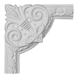 "Ekena Millwork - 9 3/4""W x 9 3/4""H Milton Running Leaf Panel Moulding Corner - Our beautiful panel moulding and corners add a decorative, historic, feel to walls, ceilings, and furniture pieces.  They are made from a high density urethane which gives each piece the unique details that mimic that of traditional plaster and wood designs, but at a fraction of the weight.  This means a simple and easy installation for you.  The best part is you can make your own shapes and sizes by simply cutting the moulding piece down to size, and then butting them up to the decorative corners.  These are also commonly used for an inexpensive wainscot look."
