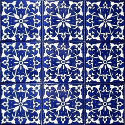 "Hand Painted 4"" x 4"" Decorative Ceramic Tiles - Beautiful hand painted decorative ceramic tile. Mediterranean Blue Design. Ceramic tiles are sold by the square foot, 9 tiles per square foot is 1 order. Tile size is 4 inch x 4 inch x 0.25 inch thick. Hand painted in Tunisia, a southern Mediterranean country. Tiles are fired twice between 500-600 degrees in a ceramic oven. Ceramic tiles are very colorful with a glossy finish. Easy set up and Heavy duty. For indoor and outdoor use. Ceramic tiles are scratch resistant, also water and fade resistant. Contact Seller for large order discounts and Custom tile work. Ref;  CCP010"