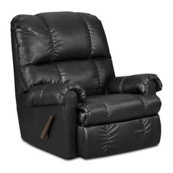 Chelsea Home - Contemporary Grace Handle Rocker Recliner - Medium seating comfort. Attached seat and back cushions. Sinuous springs. Hi-density foam cores cushion with Dacron polyester wrap to provide longer life. Stress points are reinforced with blocks to secure a long lasting frame. Mechanically engineered mechanisms for durability and long life. Apache black cover. Bonded leather upholstery. Solid kiln dried hardwood frame. Made in USA. No assembly required. 36 in. L x 36 in. W x 40 in. H (100 lbs.)