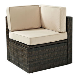 Crosley Furniture - Crosley Furniture Palm Harbor Outdoor Wicker Corner Chair - Enjoy entertaining outside with our elegantly designed all-weather resin wicker corner chair.� This finely crafted collection features intricately woven wicker over durable steel frames and UV/Fade resistant cushions providing both comfort and style. ��Clean lines marry with sophisticated design offering endless seating configurations.� Pair with any number of our wicker sectional options for a customized layout perfect for any outdoor space.