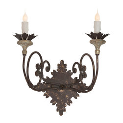 Kathy Kuo Home - Nimes French Country Iron Curled Arm 2 Light Wall Sconce - Set of 2 - These romantic, wrought iron sconces are hand carved from beech wood and finished in aged gold. French country charm will light up your walls from coupled candelabra bulbs. This perfect pair enhances elegant spaces from the boudoir to the library.