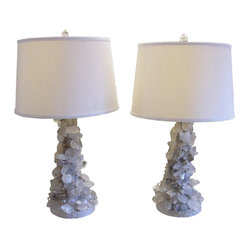 Pair of Brutalist Quartz Crystal Lamps in Gray