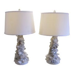 Kari Lobdell - Brutalist Quartz Crystal Lamps Grey, Set of 2 - Incorporate the beauty of nature into your decor with this pair of crystal table lamps from designer Kari Lobdell. Featuring brutalist quartz crystal bases and finials paired with natural-linen shades, these handmade lamps are somehow simultaneously earthy and ethereal.