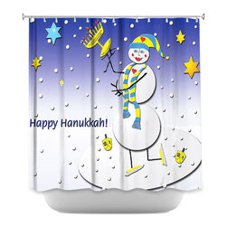 DiaNoche Designs - Shower Curtain - Dora Ficher Hannukah Snow - DiaNoche Designs works with artists from around the world to bring unique, artistic products to decorate all aspects of your home.  Our designer Shower Curtains will be the talk of every guest to visit your bathroom!  Our Shower Curtains have Sewn reinforced holes for curtain rings, Shower Curtain Rings Not Included.  Dye Sublimation printing adheres the ink to the material for long life and durability. Machine Wash upon arrival for maximum softness. Made in USA.  Shower Curtain Rings Not Included.