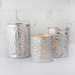 Brilliant Imports :  The Bali Collection ~ Decorative Objects - {NEW} ALUMINUM CANDLE HOLDER SET