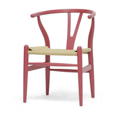Wholesale Interiors - Mid-Century Modern Wishbone Chair and Pink Wood Y Chair - This dining chair features traditional wood and is paired with a modern form, resulting in a unique piece for your home. The frame consists of solid wood with a pink finish, a curved backrest, and sturdy natural hemp seat. This item will arrive fully assembled and is also available in a light wood finish, dark wood finish, black, white, or green. This is a quality reproduction of the Hans Wegner Wishbone Chair, which is also known as the Wegner Y Chair, Carl Hansen Wishbone Chair, CH24 Wishbone Chair, and the Wegner CH24. Dimensions: 20.75 inches in Widex 21.25 inches in Deep x 26.125 inches in Height, seat height: 17.5 inches.