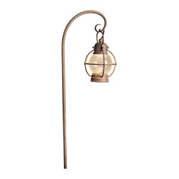 """Kichler 1-Light Landscape Fixture - Olde Brick - One light landscape fixture. From the concord collection, this lighting path light features a spherical seedy glass shade that is housed with a sphere-shaped lantern cage. The olde brick finish gives it a warm, weathered and authentic look. Comes with 8"""" in-ground stake mounting accessory. Wiring is 20"""" of usable #18-2, spt-1-w leads. cable connector supplied with fixture."""