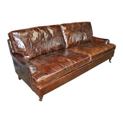 "NOIR - NOIR Furniture - 3 Seater Sofa in Vintage Cigar Leather - LEA8856-3D - Dimensions: 84"" X 38"" X 37"" H"