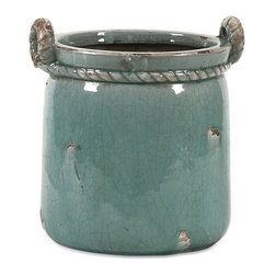 iMax - iMax Artic Small Planter X-39204 - The Arctic planter is simple in shape with classic rope detailing cinching the top and twisting into handles. Display your floral or use to hold a potted plant.