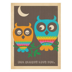 """Anderson Design Group - The Mod Collection: Rainbow Owls Gallery Print - This whimsical print features a colorful pair of Owls rendered in a modern style made popular in the 1950s and 1960s. The phrase set in a Mod font says it all: """"Owl always love you."""" Original, hand-illustrated design from Anderson Design Group in Nashville, TN."""