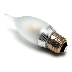 E27 LED Decorative Bulb, Bent Tip Shape - Dimmable - E27-xW3C series candle type LED replacement bulb for traditional medium screw base lamps. Light output comparable to 20~25 Watt incandescent bulbs. Consumes 4.8 Watts of power using 1 high power 3 Watt LED. Available in Cool White or Warm White with 360° horizontal or 275° vertical beam pattern.