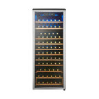 Danby - 75 Bottle Wine Cooler, Platinum Door Trim, 9 Removable Wooden Wine Racks - The Danby DWC106A1BPDD Designer 75-Bottle Wine Cooler stands slightly less than 5 feet tall but there is plenty of room to arrange your wine collection in full view for you to admire. Full-width wooden shelves add a vintage touch that is missing in units made of only metal. The blue interior display light illuminates the wine collection without the heat of an incandescent bulb and the blue, LED digital thermostat is easily visible through the door. The tinted, tempered-glass door not only showcases your wine collection but it also helps protect the wine from harmful UV rays.
