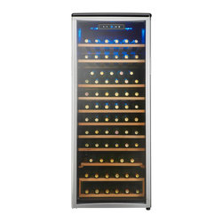 Danby - 75 Bottle Wine Cooler,Platinum Door Trim,9 Removable Wooden Wine Racks - The Danby DWC106A1BPDD Designer 75-Bottle Wine Cooler stands slightly less than 5 feet tall but there is plenty of room to arrange your wine collection in full view for you to admire. Full-width wooden shelves add a vintage touch that is missing in units made of only metal. The blue interior display light illuminates the wine collection without the heat of an incandescent bulb and the blue, LED digital thermostat is easily visible through the door. The tinted, tempered-glass door not only showcases your wine collection but it also helps protect the wine from harmful UV rays.75-bottle capacity wine cooler for free-standing installation|All black cabinet with platinum-trimmed glass door|Tinted tempered glass door helps protect wine from harmful UV rays|Blue interior display light showcases the wine without the heat of an incandescent bulb|Blue LED digital thermostat is easy-to-read through the glass door|Temperature range between 43 and 57 degrees Fahrenheit|8.5 sliding wood shelves with beechwood facing|Reversible door swing for left or right hand opening|  danby| dwc106a1bpdd| dwc106a1| designer| wine| cooler| chiller| cellar| 75-bottle| 75| bottle| capacity  Package Contents: wine cooler|manual|warranty  This item cannot be shipped to APO/FPO addresses