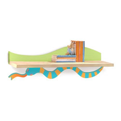 Room Magic - Room Magic Little Lizard Wall Shelf - RM35-LL - Shop for Wall Hooks Racks and Shelves from Hayneedle.com! A colorful wiggly snake holds up the Room Magic Little Lizards Wall Shelf. Made with birch veneer this wall shelf is ideal for hanging over a desk dresser changing table or anywhere you need a bit of extra storage.About Room MagicRoom Magic doesn't just make children's furniture; they design furniture specifically for children using the magic of childhood imagination and creativity as a guiding principle. Beginning in 1999 with graphic designer Karen Andrea's attempt to create a truly lively and unique room for her five-year-old daughter Sarah the company has maintained a focus on using bright colors and unique themes that steer clear of cliched motifs. Bright and bold playful cut outs decorate the quality hardwood pieces finished with beautiful stains. With collections that are geared both to boys and to girls Room Magic provides the furniture accessories and bedding you need to bring the magical fun of childhood to your kids' rooms.