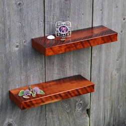 Vintage Black Cherry Shelves - Stunning pair of solid Black Cherry shelves. Made from rare antique cherry planks salvaged from a reclaimed barn. These planks were stored very long ago and forgotten. Amazing old growth color variation provides an excellent fit for any style of decor. Hand rubbed varnish finish. Keyhole fasteners are installed for simple secure mounting and they are ready to hang.