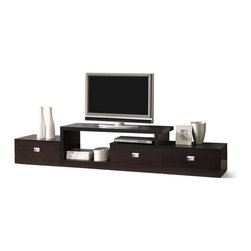 Baxton Studio - Baxton Studio Marconi Brown Asymmetrical Modern TV Stand - Ideal for an extra-long wall, our versatile Marconi TV Stand is a marvel of what superior function and style can do together! Three drawers paired with ample open shelving and top surface space give plenty of options for storing electronics components or displaying your favorite decor. The modern entertainment stand is made of mixed engineered woods with dark brown faux wood grain paper veneer and silver drawer pulls. Malaysian-made, this contemporary TV stand requires assembly and should be dusted clean with a dry cloth.