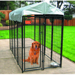 "Jewett-Cameron Companies - Lucky Dog ""Uptown"" Kennel, 8'L x 4'W x 6'H - 6' high, box dog kennel, cover included. Easy assembly of pre-fabricated wire mesh panels. NO tools needed. Black powder coat finish."