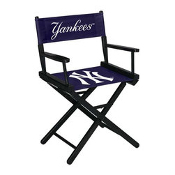 Imperial International - New York Yankees MLB Directors Chair - Take a look at this great Table-Height Director's Chair. It has black stained hardwood, paddle arms, and a straight line leg rack. It's custom manufactured for you in the heart of Tennessee. It's perfect for your Man Cave, Game Room, Garage or Basement. Logos are screen printed on the back and seats of a high quality 16oz duck cloth canvas. Suitable for indoors and outdoors.