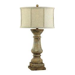 Dimond Lighting - Dimond Lighting 93-9121 Cahors View Distressed Beige Table Lamp - Dimond Lighting 93-9121 Cahors View Distressed Beige Table Lamp