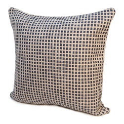 """Rennie & Rose - Rennie & Rose Protege Grid Pillows, Annapolis Blue, 24""""x24"""" - The Rennie & Rose Island Pillow Collection adds high design to every home by using textures, colors and neutral palettes. Mix and match fine linen and cotton of our Hobie Stripe, Protégé Grid and Bernard Stripe patterns.  Create a casual yet sophisticated lifestyle statement!  Available in 18"""", 24"""", 12""""x16"""" Lumbar Pillows. Manufactured in USA."""