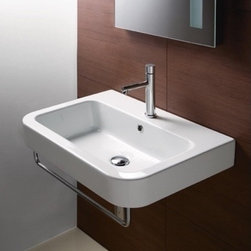 "GSI - Curved Rectangular Wall Mounted Bathroom Sink by GSI - This gorgeous curved rectangular white ceramic sink is made in Italy by GSI. It is designed with a contemporary feel including overflow and comes with either a single faucet hole (as shown), no hole, or 3 holes. Sink dimensions: 25.60"" (width), 7.50"" (height), 19.00"" (depth)"