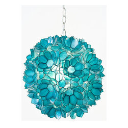 Worlds Away Venus Pendant Capiz Shell Floral, Turquoise - You can use this dramatic and fun pendant above a kitchen island, in a foyer, powder room or office. It comes in yellow, turquoise, pink and white.