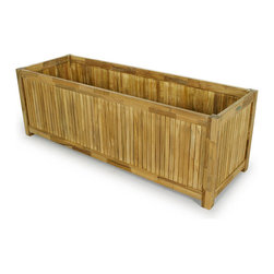 Westminster Teak Furniture - Westminster Teak Rectangular Planter 20x60 - Now having a small flower or veggie patch wont be so back breaking with our largest teak planter box. You can grow the freshest herbs, veggies or flowers right out your back door in a durable, bold, beautiful teak planter box that will last for many years outdoors.