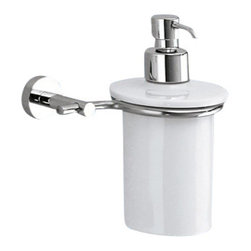Gedy - Wall Mounted Porcelain Soap Dispenser With Chrome Mounting - Round wall mounted porcelain liquid soap dispenser.