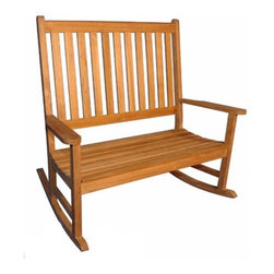 Fifthroom - Teak Double Rocker - A double rocker can provide one person with room to lounge or two people with space to snuggle.  The 100% Grade A Teak is a thermally stable material; teak will not warp due to climate or temperature change and is highly resistant to decay.  Pair it with other teak outdoor seating for a cozy conversation group.