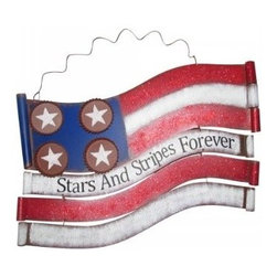 Alpine Corporation - American Flag Metal Wall Decor - Show off your patriotic spirit in a unique way! Display these stars and stripes for all-American holidays or use them year round for a great look. Perfect for Indoor/Outdoor use, these decors are fun-loving interpretations of Old Glory and a wonderfully patriotic garden accent.