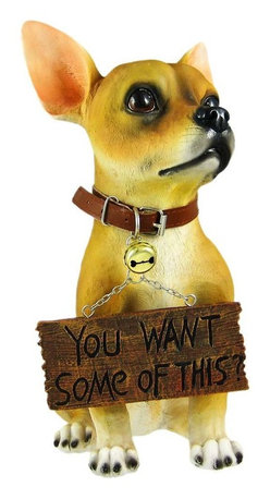 `Want Some?` Cute Chihuahua Dog Un-Welcome Statue - This incredibly cute Chihuahua dog lawn / garden statue can help your neighbors, mailman, salesmen, etc. understand what kind of mood you`re in. On good days, turn the sign hanging from the dog`s mouth to read `Welcome`. On bad days, turn it around, and it reads `You Want Some Of This?`. The figure measures 12 3/4 inches tall, 7 inches wide and 10 inches deep. Made of extremely durable bonded marble resin, this figure is fade and breakage resistant. This cute Chihuahua makes a perfect gift for any dog lover.