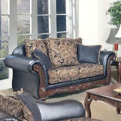 "Acme Furniture - Fairfax Loveseat with Pillows in San Mario Ebony PU - Fairfax Loveseat with Pillows in San Mario Ebony PU & Silas Ebony; Finish: San Mario Ebony PU & Silas Ebony; Materials: Fabric & PU; 3 Large Pillows & 2 Throw Pillows, 53% Cotton, 47% Polyester; Dimensions: 71""L x 38""D x 40""H"
