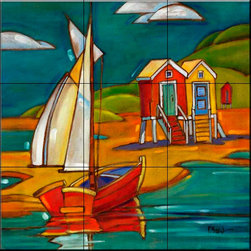 The Tile Mural Store (USA) - Tile Mural - Portofino Cabanas  - Kitchen Backsplash Ideas - This beautiful artwork by Paul Brent has been digitally reproduced for tiles and depicts cabanas in the portofino series.    Tile murals with ships and decorative ship tiles are timeless and are excellent to add to your kitchen backsplash tile project or your tub and shower surround bathroom tile project. Images of ships on tiles and pictures of sailboats on tiles add a unique element to your tiling project and are a great kitchen backsplash idea for a coastal home. Use a decorative tile mural of ships and boats for a wall tile project in any room in your home where you want to add interest to a plain field of wall tile. Bathrooms always look best with the addition of decorative wall tiles so why not add a tile mural with the image of a ship?