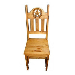 Million Dollar Rustic - Starred Back Chair - Set of 2 - Set of 2. Wooden dining side chair with hand carved star. Warranty: One year. Made from white pine. 17 in. W x 18 in. D x 45 in. H (15 lbs.)