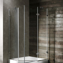 Vigo - VIGO VG6061BNCL40 Neo-Angle Shower - Both dramatic and space-saving, the VIGO frameless neo-angle shower enclosure creates a beautiful focal point for your bathroom.
