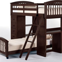 NE Kids - Schoolhouse Student Loft Bed - Chocolate Multicolor - FUB405 - Shop for Bunk Beds from Hayneedle.com! The Schoolhouse Student Loft Bed - Chocolate is the perfect option for the studious young genius in your life. This piece is made from the toughest of hardwoods so your trust will never be misplaced and the chocolate brown finish will calm busy minds. What makes this bed so unique is the interchangeable desk and chest ends. The desk able to be installed facing inward or outward is ideal for after-school study sessions and the chest can keep all manner of odd and end safe and sound. You may also opt to add a lower bed for a sibling making this one of the most fabulously versatile pieces around. This loft measures 80L x 42W x 67.75H inches. The lower bed measures 80.75L x 42W x 24H inches. We take your family's safety seriously. That's why all of our bunk beds come with a bunkie board slat pack or metal grid support system. These provide complete mattress support and secure the mattress within the bunk bed frame. Please note: CPSC recommends the tops of the guardrails must be no less than 5 inches above the top of the mattress and that top bunks not be used for children under 6 years of age. About New Energy KidsNE Kids is a company with a mission: to create and import truly unique furniture for your child. For over thirty years they've been accomplishing this mission with flying colors one room at a time. Not only will these products look fabulous they will provide perfect safety for your children by adhering to the highest standards set by the American Society for Testing and Material and the Consumer Products Safety Commission. Your kids are in the best of hands and everyone will appreciate these high-quality one-of-a-kind pieces for years to come.