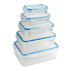 Vanderbilt Home - Blue 10-Piece Container Set - Make kitchen storage easy with this set of containers that'll keep food fresh and cabinets uncluttered. Different sizes mean there's always one that's just right, whether filled with cereal, baking supplies or grains. Plus, smart snap-close lids keep contents safe.   Includes 3.6 L container, 2.3 L container, 1.5 L container, 800 ml container, 400-ml container and five lids Plastic Dishwasher-safe Imported
