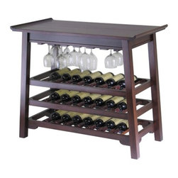 "Winsome - Chinois Console 25 Bottle Wine Rack - Features: -Sophisticated wine table.-Crafted from beech wood.-Wine rack and stemware holder.-Stylish and practical addition to any home.-Accented with a beautiful line design.-Product Type: Wine bottle and glass rack.-Collection: Chinois.-Finish: Antique walnut.-Distressed: No.-Powder Coated Finish: No.-Material: Solid and composite wood.-Hardware Material: Metal.-Scratch Resistant: No.-Tarnish Resistant: No.-Wine Bottle Capacity: 27.-Lockable: No.-Shelves Included: No.-Removable Serving Tray Included: No.-Ice Bucket Included: No.-Wine Glass Storage Included: Yes -Wine Glass Capacity: 18..-Glasses Included: No.-Adjustable Levelers: No.-Stackable: No.-Foldable: No.-Removable Bottle Racks: No.-Bottle Size Compatibility: 0.75 L.-Outdoor Use: No.-Commercial Use: No.-Recycled Content: No.-Eco-Friendly: No.-Gloss Finish: No.-Solid Wood Construction: No.Specifications: -UL Listed: No.-cUL Listed: No.-ISTA 3A Certified: No.-ISO 9000 Certified: No.-ISO 14000 Certified: No.Dimensions: -Overall Height - Top to Bottom: 32"".-Overall Width - Side to Side: 37"".-Overall Depth - Front to Back: 20"".-Overall Product Weight: 55 lbs.Assembly: -Assembly Required: Yes.-Tools Needed: All tools included.-Additional Parts Required: No.Warranty: -Product Warranty: Replacement parts within 60 days from date of purchase."