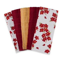 "Ka&f Group, Llc - Flower 100% Cotton Terry Cloth Kitchen Towels in 5-Pack - The beautiful floral design on these kitchen towels quickly brighten up any kitchen. The towels' 16"" W x 26"" L dimensions will help you with bigger messes and cleaning up spills."
