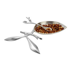 Branch Salt Tray Set - This gleaming salt and pepper tray set captures the essence of nature. With its beautiful leaf design, this silver-plate brass tray and spoon are perfect for not only salt, but red pepper, grated cheese, and fresh herbs as well.