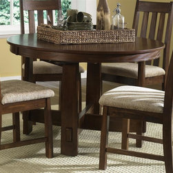 Liberty Furniture - Urban Mission Dining Table in Dark Mission Oa - Chairs sold separately. One 18 in. butterfly leaf. Comfortably seats upto 4. Warranty: One year. Made from select hardwoods and oak veneers. Made in Malaysia. Minimum: 66 in. L x 48 in. W x 30 in. H. Maximum: 84 in. L x 48 in. W x 30 in. H (108 lbs.)