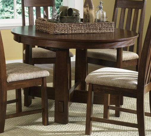 Liberty Furniture - Urban Mission Dining Table in Dark Mission Oak Finish - Chairs sold separately. One 18 in. butterfly leaf. Comfortably seats upto 4. Warranty: One year. Made from select hardwoods and oak veneers. Made in Malaysia. Minimum: 66 in. L x 48 in. W x 30 in. H. Maximum: 84 in. L x 48 in. W x 30 in. H (108 lbs.)